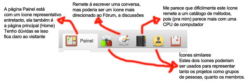 Problemas com ícones na página principal do Corais.org