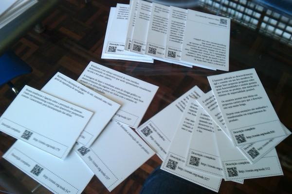 Primeiro protótipo dos UX Cards (verso)